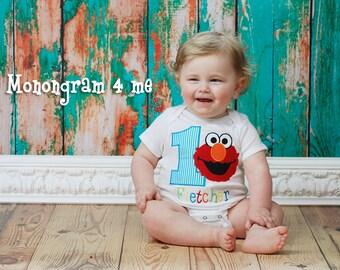 Boys 1st Birthday Elmo Bodysuit Shirt, Baby Boy sesame street, Bodysuit, creeper, snapsuit