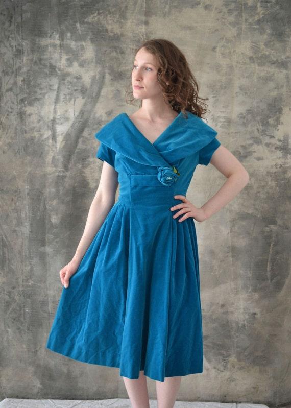 1950s Teal Velvet Dress