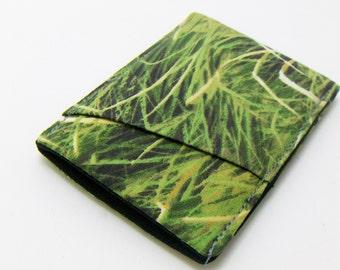 Mens Wallet / Green Grass / 3 pocket wallet / Minimalist wallet / Vegan wallet / fabric wallet / front pocket wallet
