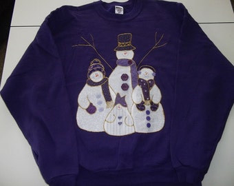 2X- Large Adult Sweatshirt - Snowmen on purple