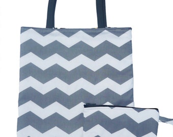 Chevron Grey and White Print Matching Set Reversible Tote Bag and Makeup Bag