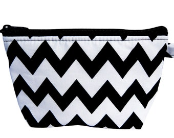 Chevron Black and White Print Makeup Bag