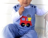 Custom Personalized Boys Infant or Toddler Fall Navy Tri Check  Longall Jon Jon Overall with Train Applique ADD A NAME FREE
