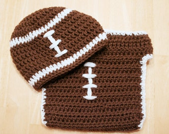 Baby Football Outfit, crochet football hat and diaper cover, baby halloween costume, Newborn football costume, crochet football uniform