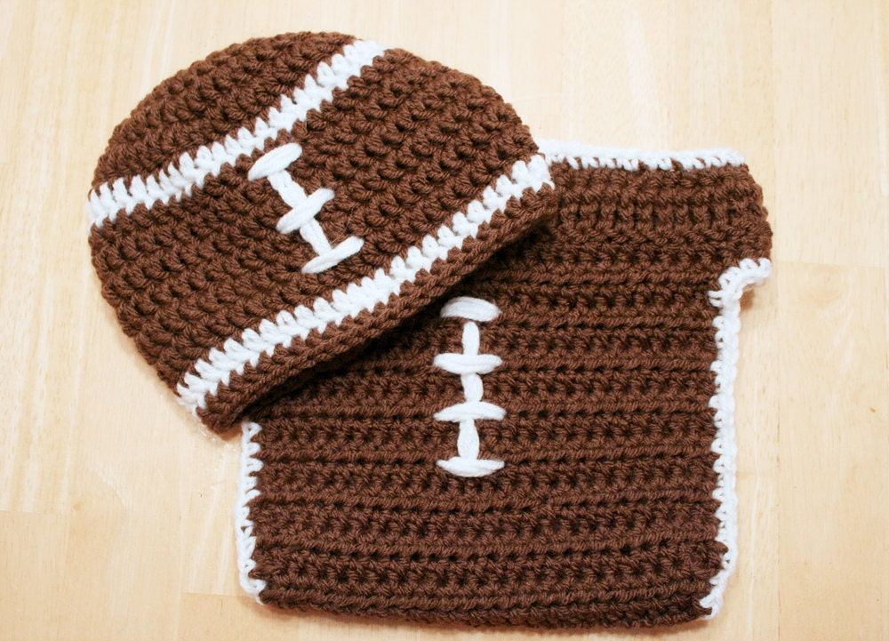 Book Cover Crochet Hats : Baby football outfit crochet hat and diaper cover