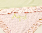Pretty in Pink and Sage Green Baby Blanket