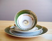 Antique Bavaria Trio China Footed Cup Saucer Dessert Plate Green and Gold Gilt Teacup