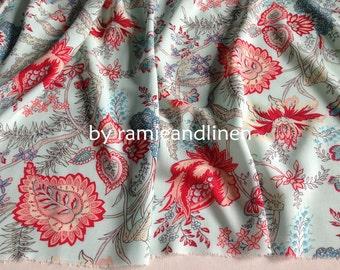 "rayon fabric, vintage floral print rayon fabric, half yard by 54"" wide"