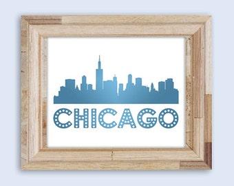 Chicago Skyline Print, Wall Art, DIY Printable Digital Art, Print At Home, Chicago Wall Art