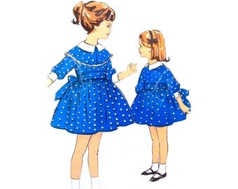 Vintage 1960s Girls Dress Pattern Detachable Cape Collar Size 4 Advance 2984