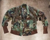 Camoflauge jacket women/Military embellished outerwear/Recycled outerwear upcycled