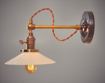 Industrial Wall Sconce - Machine Age Lamp with Glass Shade