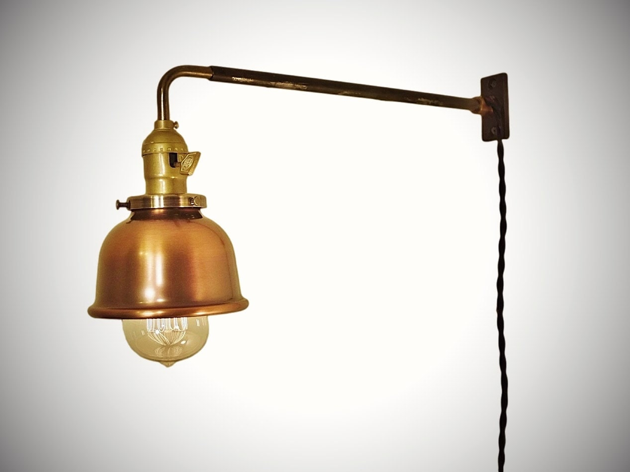 vintage industrial wall mount light copper shade machine. Black Bedroom Furniture Sets. Home Design Ideas