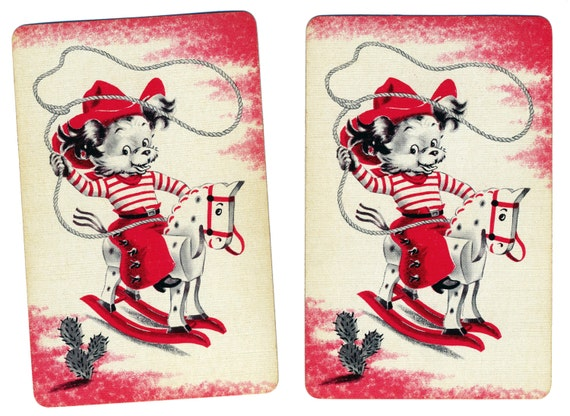 HI-YO, SILVER, Away! (2) Vintage Single Swap Playing Cards Paper Ephemera Scrapbook