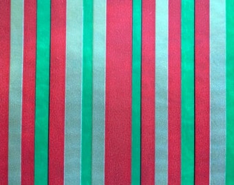 Sheet Vintage Red Green Gold Stripe Christmas Gift Wrap Wrapping Paper