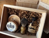 2 Men's Shave Set in Deluxe Wood Box with Aftershave/Cologne,  Boar Brush, Mens Grooming