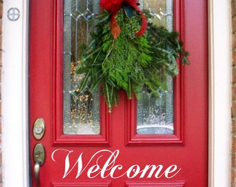 Welcome  -Vinyl Lettering door decal wall words graphics Home decor itswritteninvinyl