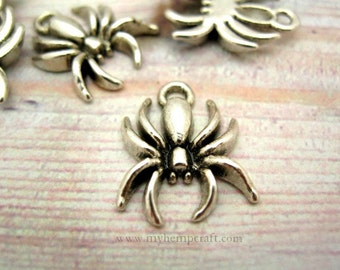 Spider Charms, 10pc Antiqued Silver Metal Halloween Spider Charms