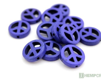 12pc Peace Sign Beads, Blue Dyed Stone Beads, Magnesite, 15mm