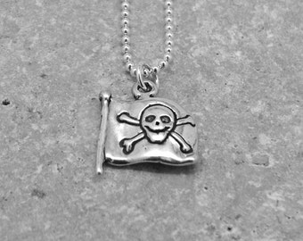 Pirate Flag Necklace, Jolly Roger Necklace, Skull Necklace, Skull and Cross Bones Necklace, Charm Necklace,Sterling Silver Jewelry