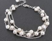 Freshwater Pearl Bracelet in Sterling Silver, Multi Strand Bracelet, Genuine Pearls and Silver, June Birthstone, Pretty Pearl Bracelet