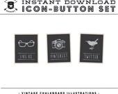 INSTANT DOWNLOAD - Set of 4 Vintage Chalkboard Illustration Social Buttons/Icons -  for your Blog or Website