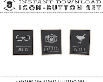 INSTANT DOWNLOAD - Set of 4 Chalkboard Social Buttons/Icons - Social Media Buttons - Social Icon Set - Social Media Button Set