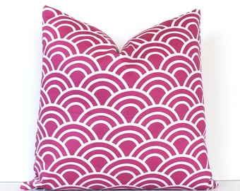 """Radiant Orchid Geometric Designer Pillow Cover 18"""" White Modern accent cushion mod waves scales pink fuchsia arches scallop Valentines Day"""