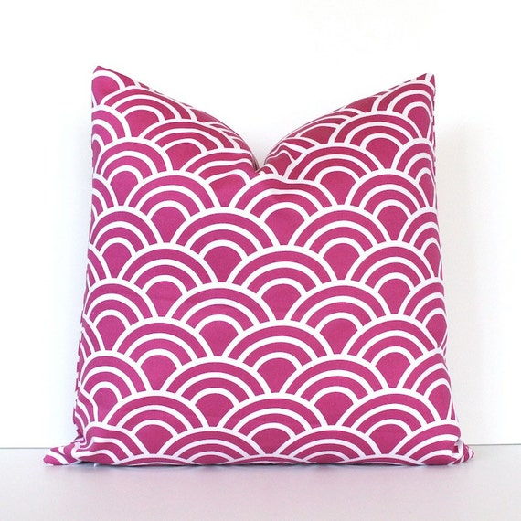 "Radiant Orchid Geometric Designer Pillow Cover 18"" White Modern accent cushion mod waves scales pink fuchsia arches scallop Valentines Day"