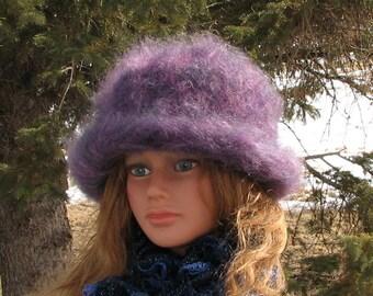 Knit Felt Brimmed Bowler Crusher Purple Amethyst Hat Mohair Wool