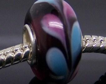One Piece Murano Glass Bead For Charm Fit European Bracelet Necklace Jewelry 14mm x 7.5mm  jaz325