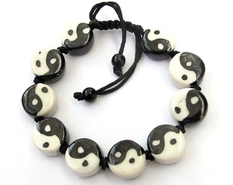 Hand Crafted Porcelain Yin-Yang Fish Beads Bracelet  T2128