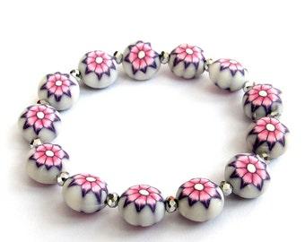 12mm x 8mm Fimo Polymer Clay Beads Flower Wrist Bracelet For Women  T3184