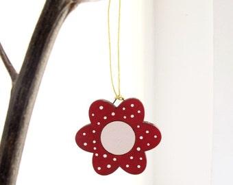 Christmas kids Ornaments, kids holiday decor, wooden red flower holiday decor, Christmas gift for girls, children decor
