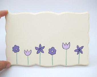 Personalized  door sign- cream and purple flowers kids door sign, girls door sign, children name plate