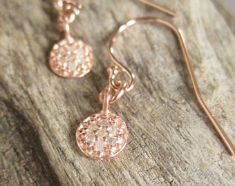 Tiny Rose Gold Earrings Pave Diamond Disc Earrings Rose Gold Filled