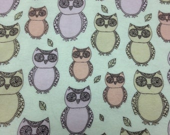 Pastel Owls - Flannel  Fabric - BTY