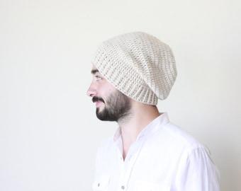 Men crochet beanie, Winter beanie for men, Beige beanie hat, Slouchy beanie men, Winter hat, Mens Wool hat, Men Slouchy beanie,