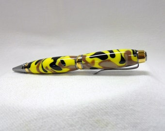 Handmade Pen - Executive Style, Harvest Camo Acrylic, Black Titanium & Titanium Gold Trim