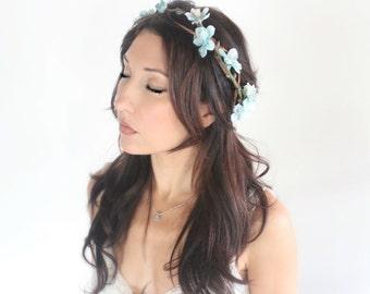 Wedding Flower Crown, blue, aqua, Tiara, wedding accessories, bridal flower, whimsical wedding by DeLoop by DeLoop
