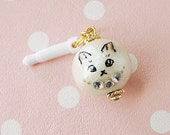 catty candy cotton pearl earphone plug jack charm - Toutou  (cat faced pearl) - Japanese cotton pearl