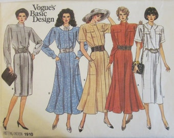Vogue Basic Design 1910 Misses' 80s Petite Blouson, Flared, Gored Dress Sewing Pattern Size 8, 10, 12. Bust 31, 32, 34