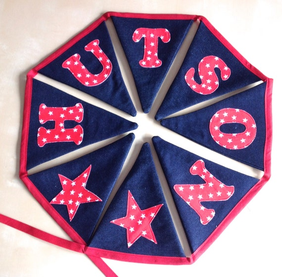 Personalized Bunting Name Banner Navy, Red and White Stars