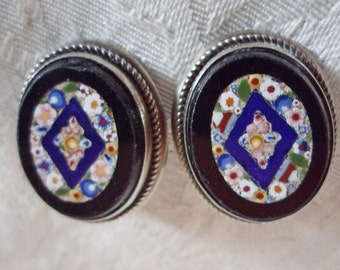 Antique 800 SILVER Micro Mosaic Black Glass clip on EARRINGS