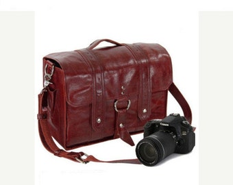 "14"" Red Italain Leather Camera Bag"