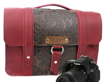 "14"" Red and Brown Paisley Newport Ashbury Leather Camera Bag"