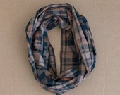 Cotton Infinity Scarf - Brown Black Tan Plaid - Brushed woven cotton flannel - ready to ship