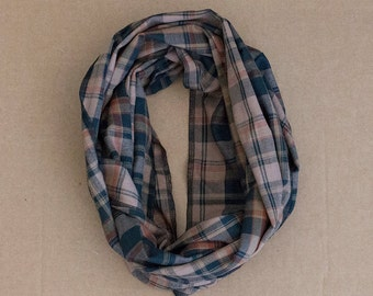 CLEARANCE!!! Cotton Infinity Scarf - Brown Black Tan Plaid - Brushed woven cotton flannel - ready to ship