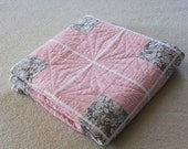Floral Pink and Grey Quilt