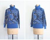ladies Italian wool Benetton turtleneck sweater - floral jacquard / Black & Blue - vintage 80s / Italy - 1980s